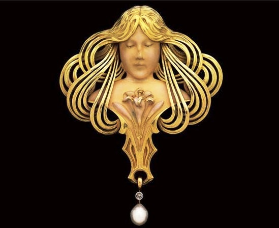 Ivory gold, pearl pendant brooch