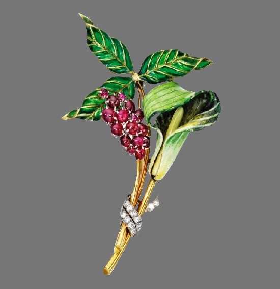 Jack in the Pulpit blossom with a cluster of berries brooch. Diamonds, enamel, rubies, circa 1935