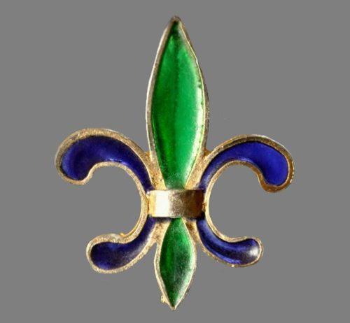 Lester Joy Plique a Jour Fleur De Lis Brooch Poured Faux Stained Glass
