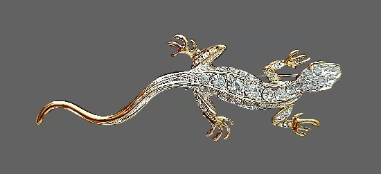 Lizard brooch pin. Gold tone metal, rhinestones