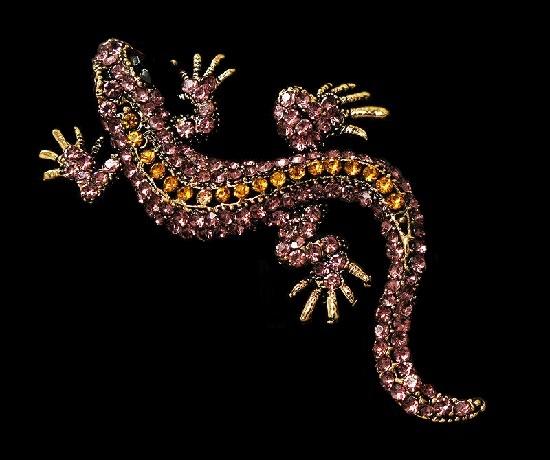 Lizard brooch. Jewelry alloy, purple crystal