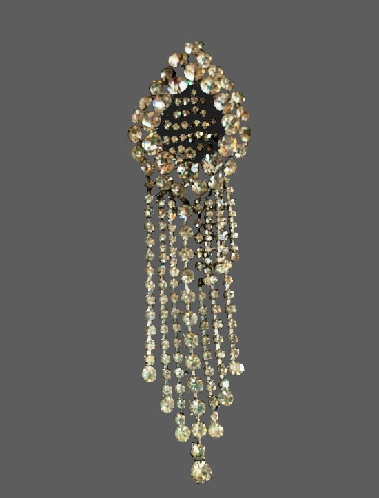 Long clear rhinestone dangling brooch. 1950s