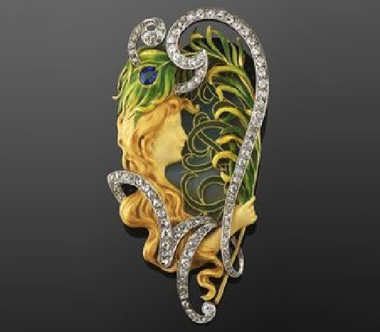 Maiden and peacock feather brooch. Gold, ivory, sapphire, diamonds, silver