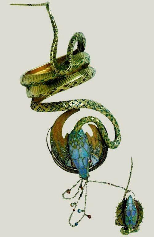 'Medea' bracelet. 1899. Cloisonne enamel, rubies, opals and diamonds