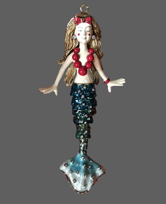 Mermaid pendant. Jewelry alloy, enamel, plastic