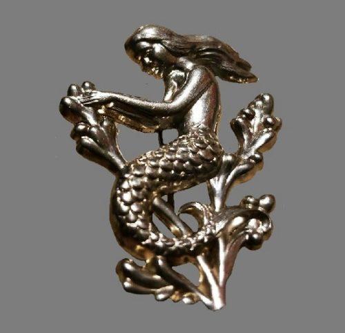 Mermaid sterling silver brooch
