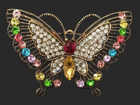 Multicolor crystal butterfly brooch. 7 cm