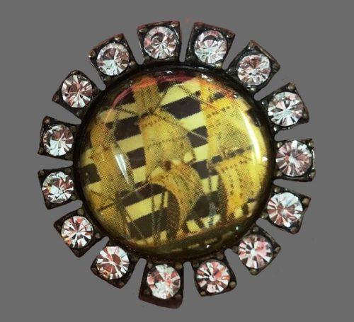Nautical Sailor Ship vintage brooch pin. Gold tone metal, rhinestones, lucite