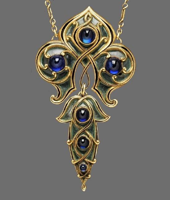 Necklace. Plique-à-Jour Enamel, 18 Karat Gold, sapphire, circa 1900