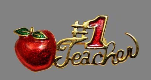 Number 1 Teacher apple pin. Gold tone metal, red enamel. 1990s