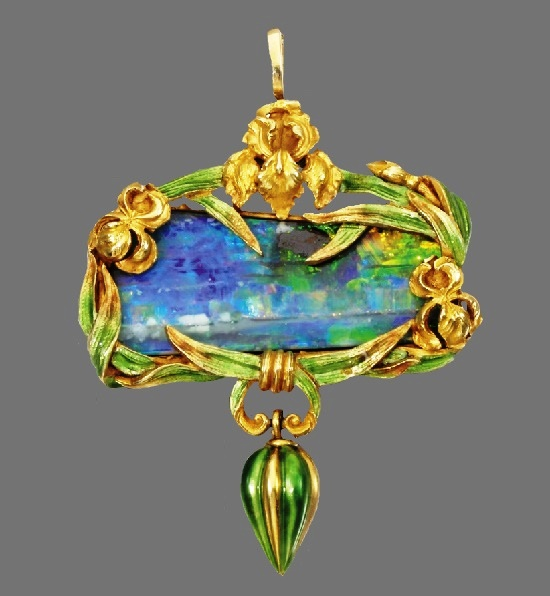 Opal, Gold, and enamel brooch pendant, circa 1900