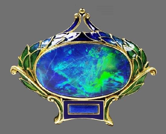 Opal, Plique-à-Jour Enamel Brooch. 18 Karat Gold