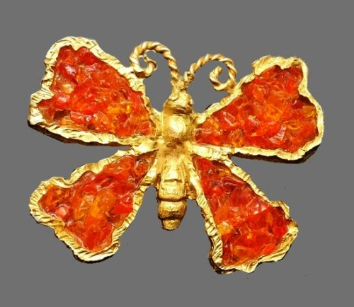 Orange butterfly brooch. Gold tone metal, poured glass