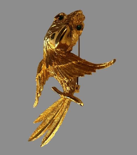 Parrot brooch. Gold tone metal, rhinestone. 1950s