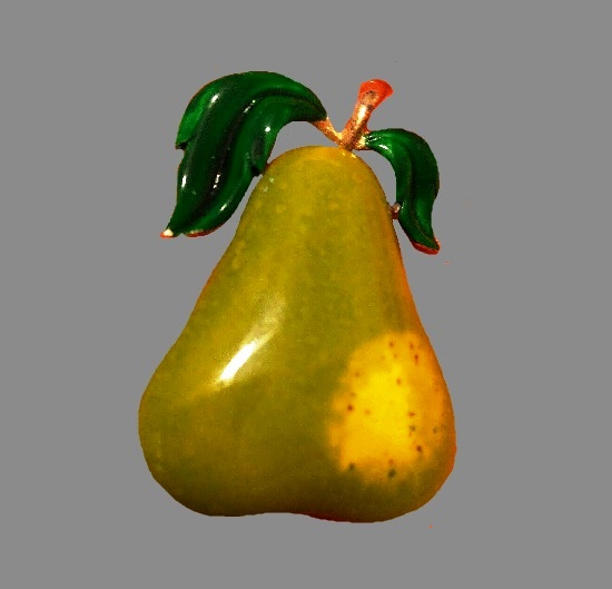 Pear brooch. Yellow and geen enamel