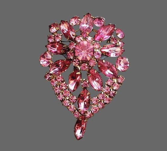 Pink rhinestone brooch, 1950s