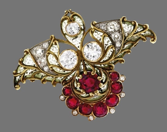 Plique-à-Jour Enamel Brooch. 18 Karat Gold, Ruby, Diamond, circa 1900