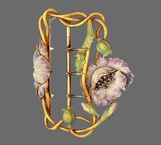 Poppy buckle. Gold, enamel