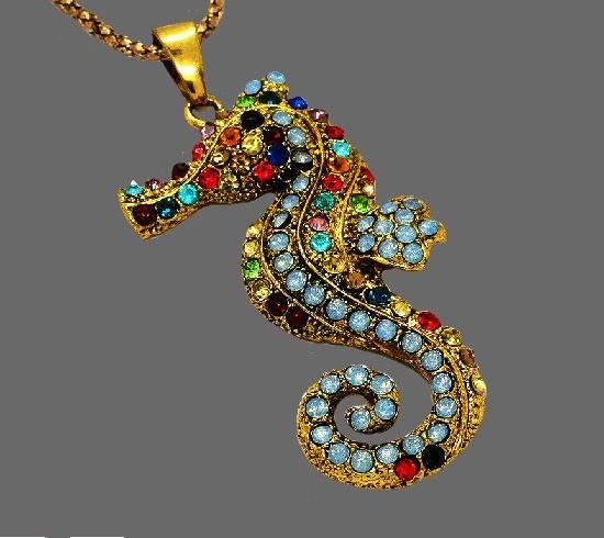 Sea Horse pendant. Gold tone metal, crystals, rhinestones