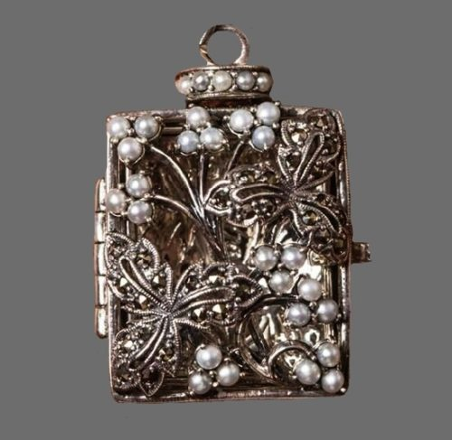 Secret Diary Locket Pendant. Sterling silver, faux pearls
