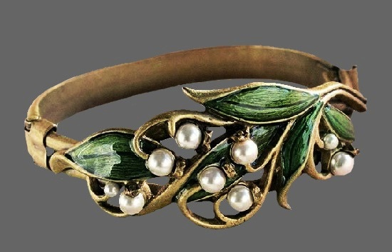 Shelley Cooper Lily Of The Valley Brass and pearl bracelet