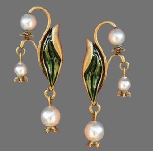 Shelley Cooper Lily Of The Valley Brass and pearl earrings