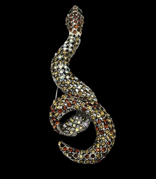 Snake silver plated brooch. Silver Plated, multicolor crystals
