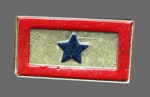 Star rectangular shaped brooch. Sterling, blue and red enamel