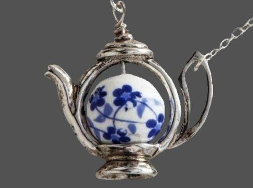 Teapot necklace. Silver tone metal, blue enamel