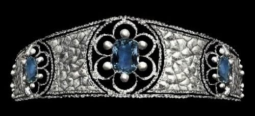 The tiara created by G. Fouquet in 1908. Aquamarines, natural pearls and diamonds
