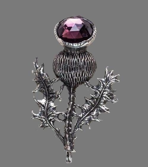Thistle brooch pin. Silver tone metal, amethyst stone