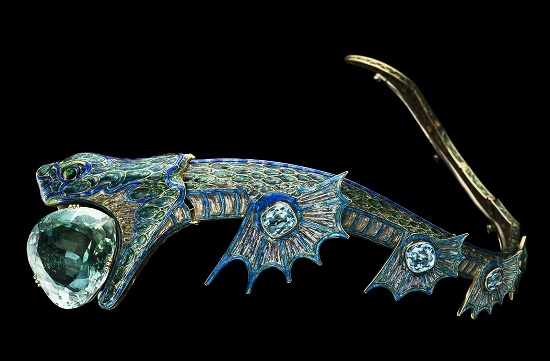Tiara in the shape of a sea dragon made of gold, silver and enamel with aquamarine inlays. 1900