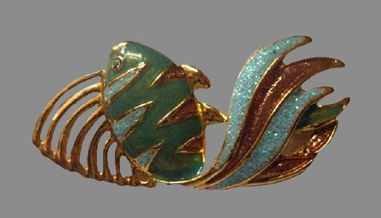 Tropical fish brooch. Blue and aqua glitter enamel, gold tone