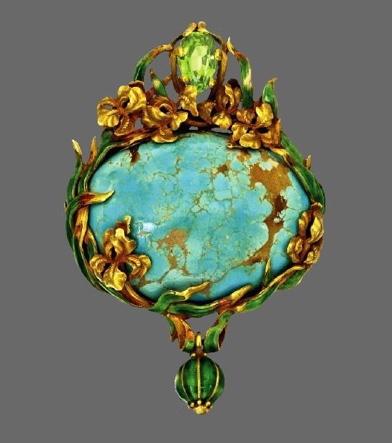 Turquoise, Peridot, Gold, enamel Pendant-Brooch, circa 1900