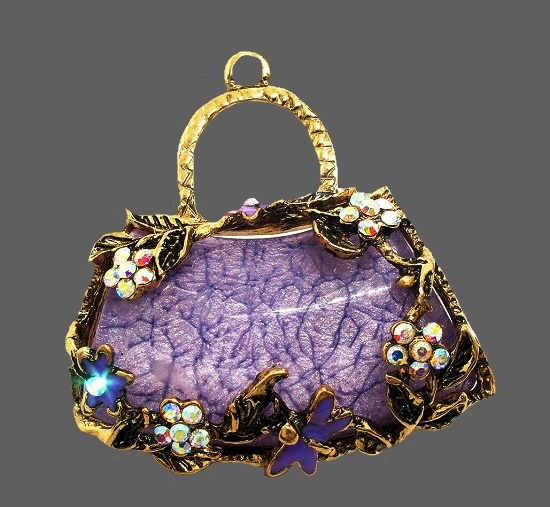 Twig flower handbag brooch pendant. Purple lucite, gold tone metal, crystals