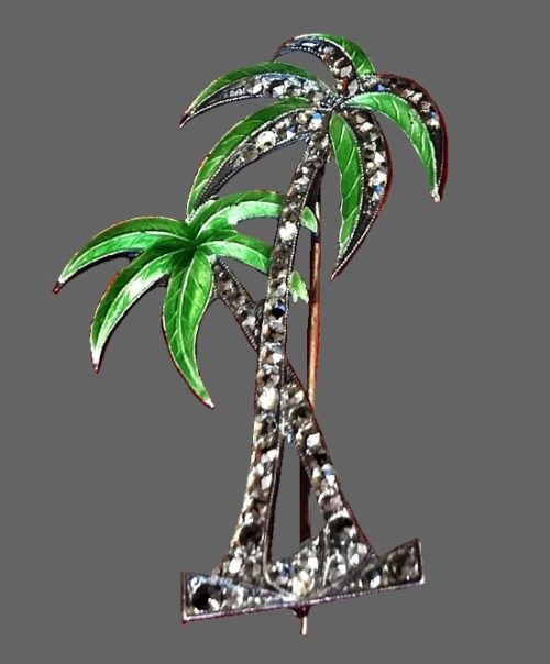 Two palm trees brooch pin. Sterling silver, marcasite