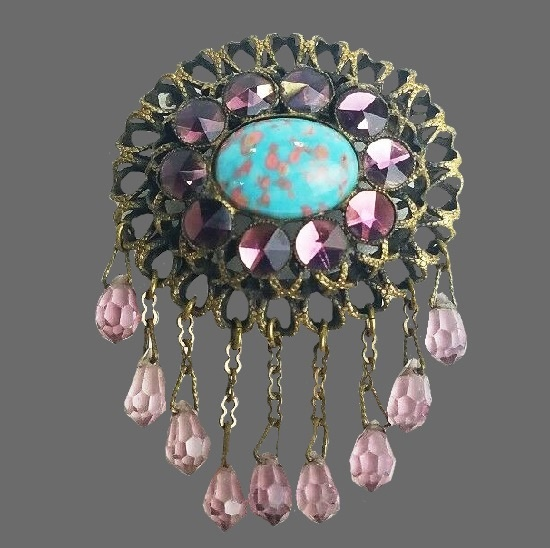Victorian brooch amethyst dangle briolette crystal, Turquoise Confetti Lucite
