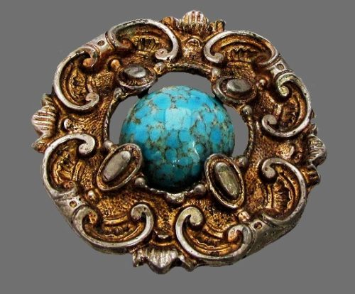 Victorian style brooch. Sterling silver, gold tone metal, art glass, 1950s