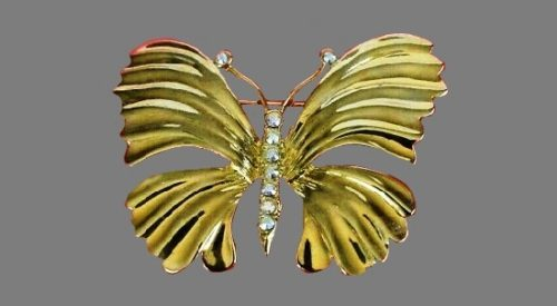 Vintage 1990s butterfly brooch of gold tone, aurora borealis rhinestones