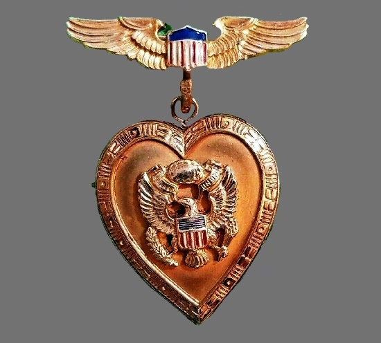 WWII US Army Aviator Wing Sweetheart Locket Pinback 10K Gold Filled