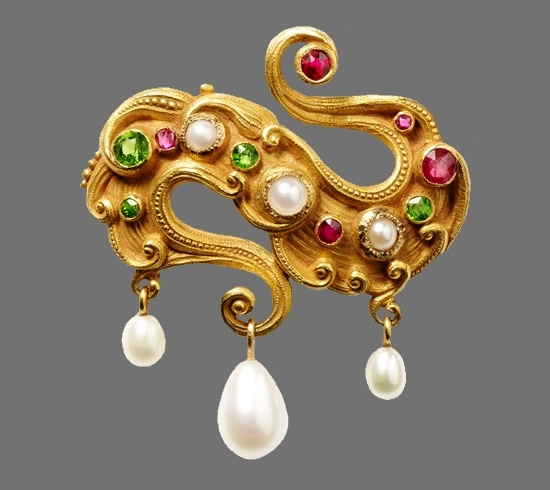 Yellow sapphire, ruby, pearl gold brooch