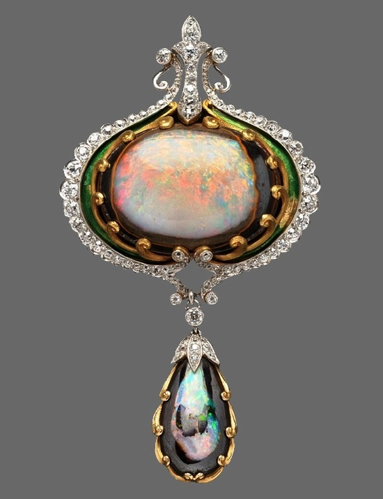 opal, gold and diamond necklace