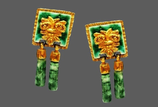22-karat green gold plate dangle earrings