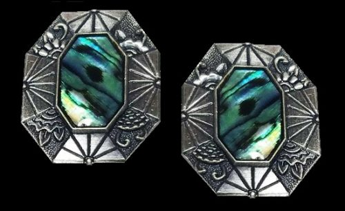 Abalone shell textured pewter earrings