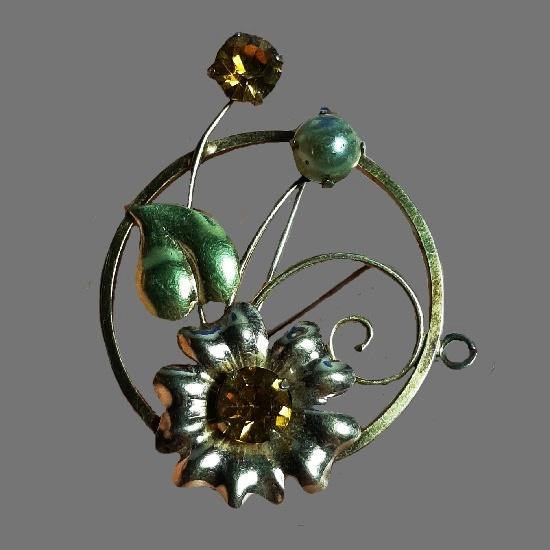 Amber rhinestone, faux pearl flower pin, 12 K gold filled