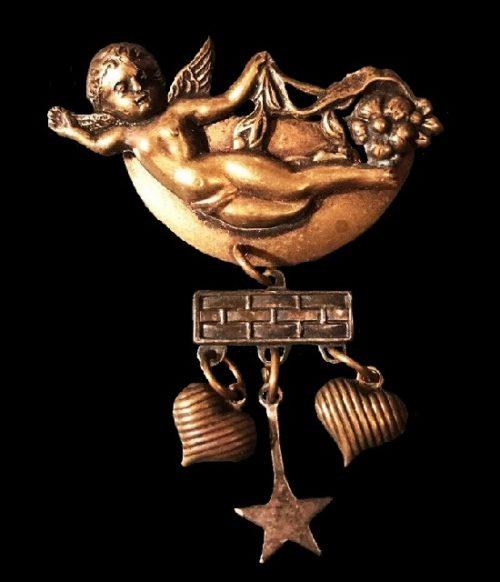 Angel Cherub dangle brooch