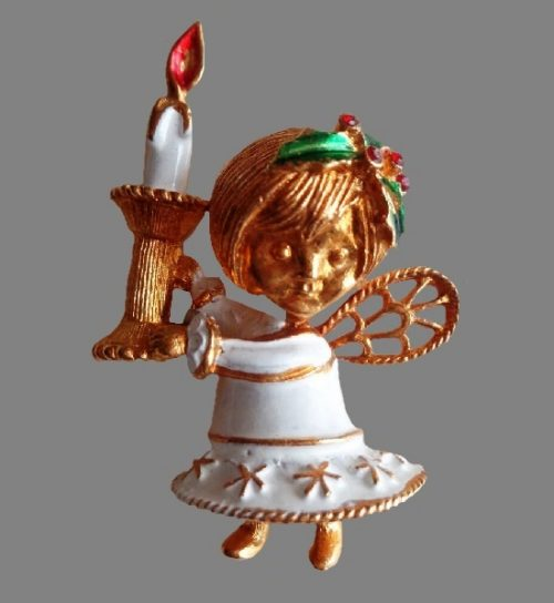 Angel with Candle Christmas Pin. Gold tone metal, enamel