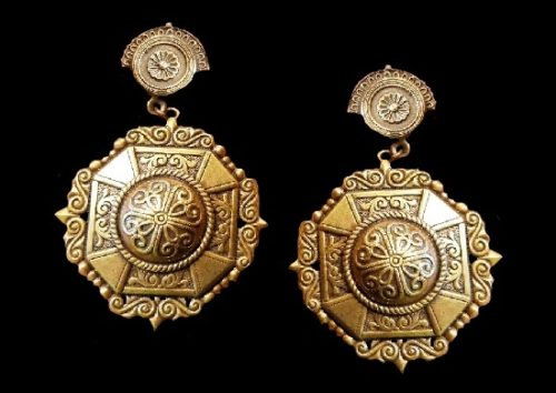 Antique brass tone textured metal earrings. Egyptian Revival style