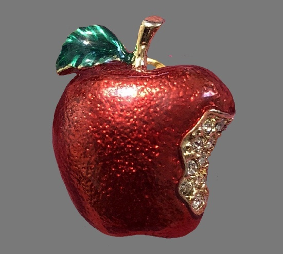 Apple brooch. Gold tone metal, red enamel, rhinestone