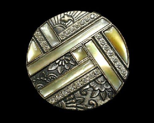 Art Deco Style round shaped brooch. Pewter, abalone shell, rhinestone